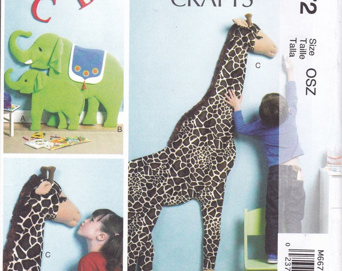 """FREE US SHIP McCall's 6672 Craft Sewing Pattern Giant 71""""  3d Giraffe Wall decoration 38"""" Momma Elephant & Baby New Uncut Factory Folded"""