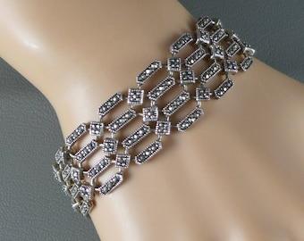 Sterling Silver Marcasite Bracelet, Vintage Sterling Silver Marcasite Link Bracelet, Sterling Silver Link Bracelet