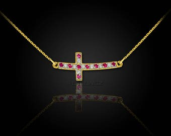 14K Gold Diamond and Ruby Curved Mini Sideways Cross Necklace (yellow, white, rose gold)