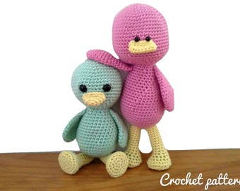 2 PATTERNs Crochet Twin Ducks, Crochet Ducks Pattern, PDF format,         2 Ducks Pattern