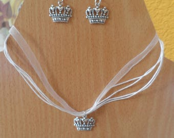 "Parure, necklace + earrings ""Crown"""