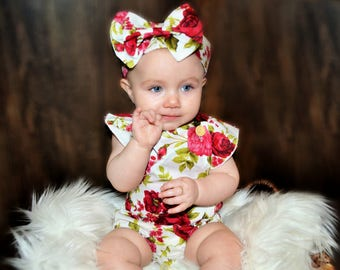 Floral romper and matching headband