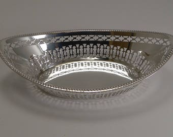 Antique English Silver Plated Bread Basket by William Hutton c.1900