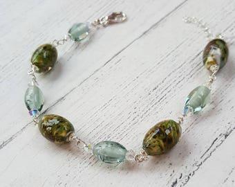 Sage Green Bracelet - Sterling Silver Bracelet - Swarovski Crystals - Gifts for Her - Lampwork Glass - Simple Bracelet - Stocking Filler