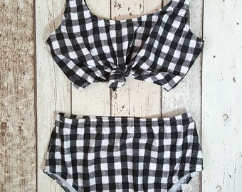 Gingham Bikini, Gingham Swimwear, Gingham Swimsuit, Gingham Top, High Waisted Bikini, Knot Top, Crop Top, Swimwear, Fab Bikini,Gingham Print