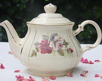 Vintage Sadler Teapot, Rose Decor, England