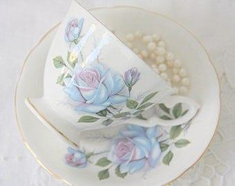 Vintage Royal Standard Bone China English Cup and Saucer, Blue Rose Decor