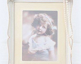 Vintage Large Photo Frame, Silver Plated and White Enameled, Bulb Glass