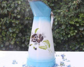 Large Vintage French Enamel Pitcher, Gradient Blue with Pansy Decor, Water Jug