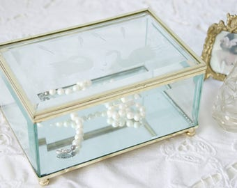 Beautiful Vintage Display Box, Jewelry Casket, Faceted Glass with Etched Lid and Gilded Metal Frame, Swan Decor