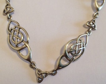 """Art Nouveau Themed Silver Necklace 16"""" long with makers mark of PT."""