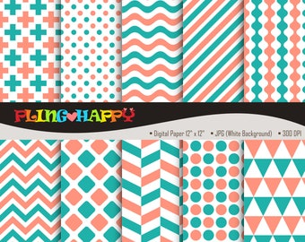 70% OFF Light Coral And Light Sea Green Digital Papers, Cross/Polka Dot/Wave/Stripe/Chevron Pattern, Personal & Small Commercial Use