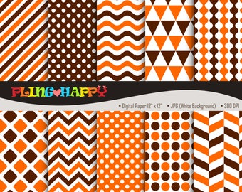 70% OFF Orange And Dark Brown Digital Papers, Chevron/Polka Dot/Wave/Stripe Graphics, Personal & Small Commercial Use, Instant Download