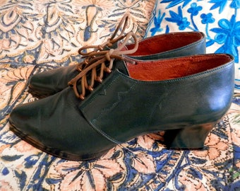 Gorgeous Green Leather 1940's Style Shoes - Size 6