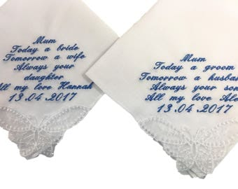 Two Personalised Handkerchiefs Mother of the Bride and Groom