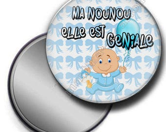 Pocket mirror - my Nanny is great gift-nanny-theme boy-blue