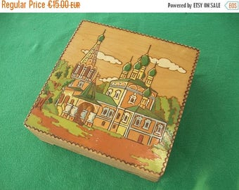 ON SALE Vintage Wood Box//Wood Trinket Box//Wooden Box//Trinket Box//Jewelry Box//Hand Painted//Found And Flogged