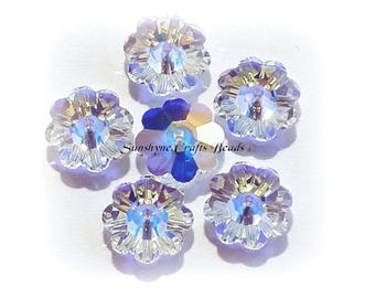 Swarovski Crystal Beads 6Pcs 3700 CRYSTAL AB Unfoiled Marguerite Lochrose Faceted Flower Bead - Sizes 6mm,8mm,10mm & 12mm available