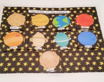 Order of the Planets Busy Bag, Buys Bag, Outer Space, Planets, Home School, Kindergarten, elementary School, Education,