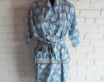 Sold Out- Bridesmaid Robes,Women Blue Kimono,Cotton Kimono,Wedding Robe,Kimono Dress,Kimono Robe,Kimono Gown,Maternity Robe,Beach Cover Up