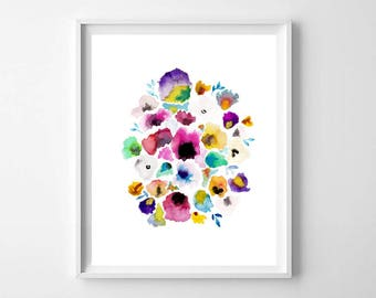 Pretty Watercolor Floral Print, Pansy watercolor giclee print, Floral Wall Art, Botanical prints , Colorful Watercolor Art