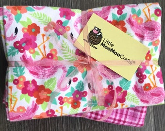 Flamingo receiving blanket set, set of two, flannel receiving blankets, pink, summer, baby girl, plaid, hospital receiving blanket, flamingo
