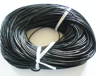 Black 2 mm round leather cord