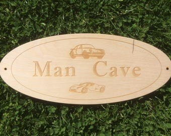 Man Cave Oval Wood Signs.