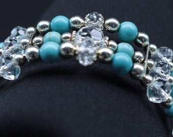 Crystal & Turquoise Beaded Bracelet