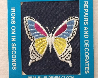 """New Iron-On Embroidered Applique Butterfly Denim Blue Jean Repair Patch 4"""" x 5"""" by Joy Insignia"""