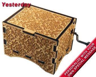 "Music Box, ""Yesterday"", Laser Engraved Wooden Hand Crank Music Box"