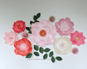 Giant paper flowers wall decor paper flowers baby girl nursery light pink nursery coral paper flower wall backdrop kids bedroom
