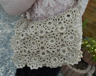 handbag knitted and crochet beige with rings