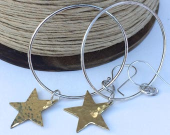Sterling Silver Hoop Earrings with Hammered Brass Stars