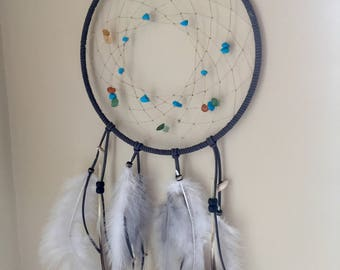 Gray Dream Catcher with Turquoise Beads