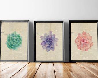 Single Flower Set | Pink Bouquet Art, Floral Bouquet Print, Single Flower Art, Floral Newspaper, Newspaper Print, Flower Newspaper