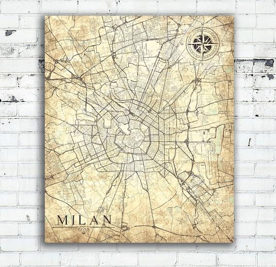 Milan canvas print milano italy vintage map milan city vintage like this item gumiabroncs Choice Image