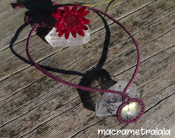 Classic Purple Pink Macrame Necklace with a Gold Healing Labradorite & Garnet Pearls. Horoscope Minimalistic Jewelry by Macrame Tralala