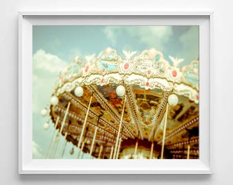 Merry go round, carnival Photography, Paris Print, Paris Carousel Photography Print, Parisian Life, Nursery Decor
