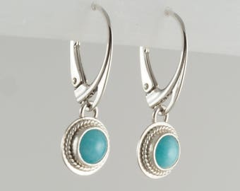 Amazonite and Sterling Silver Leverback Earrings
