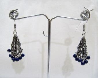 Beautiful Indian Earrings , Silver Oxidized Dangling Earrings With Blue Beads , Jhumka / Jhumki Dangle Drop Earrings , Traditional Jewelry.