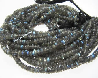 Top Quality Blue Flashy Plain Rondelle Labradorite 6 to 8mm Beads , Natural Smooth Labradorite Gemstone Beads , Strand 13 inches long.