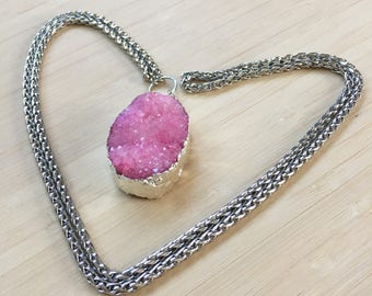 Pink Druzy Necklace with Silver Plated Chain. Long Trendy Gemstone Necklace. Bohemian Necklace.