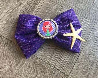 Mermaid hair bow, mermaid bow, hair bow, glitter hair bow, starfish hair bow, little mermaid bow, cute bows, girly bows, tulle hair bow,