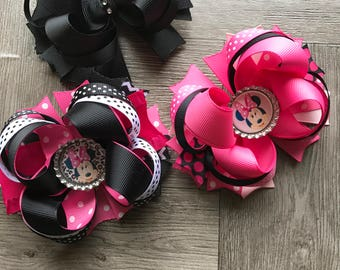 Minnie hair bow, Minnie Mouse hair bow set, hair bows bows, girly bows, Minnie Mouse hair bow, pink hair bow, pink and black bow