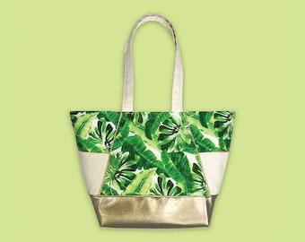 Tropical Leaf Bag, Tropical Leaf Print, Carry All Tote, Tote Bag Pockets, Beach Bag Women, Ladies Handbag, Shoulder Bag Canvas, Summer Purse