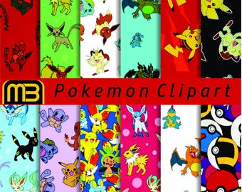 Pokemon patterns digital paper pack - printable papers - Instant download - 12x12 inches papers - for home printing - DIY
