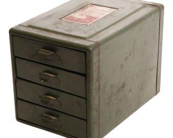 Vintage Metal Cabinet organizer 4 DRAWER pull out parts bin industrial steel rustic shabby garage box toolbox storage man cave steelmaster