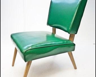 Mid Century Modern Chair green vintage 50s vinyl lounge slipper danish space age 50s eames era side accent living room mcm mod naugahyde