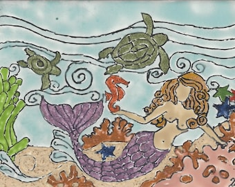Mermaid #265  Hand Painted Kiln Fired Decorative Ceramic Wall Art Tile 8 x 6